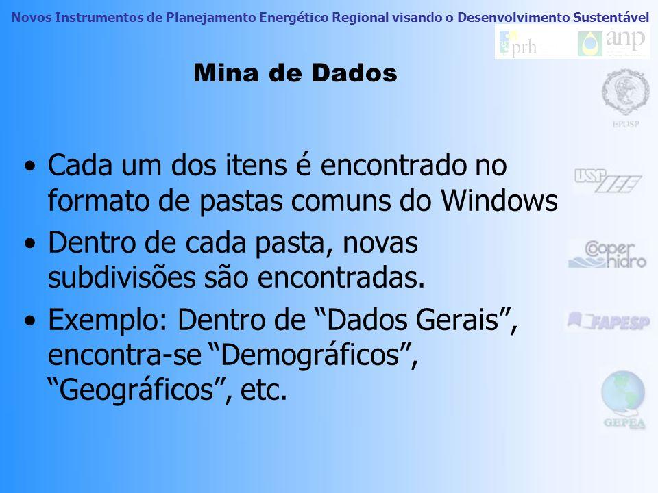 Cada um dos itens é encontrado no formato de pastas comuns do Windows