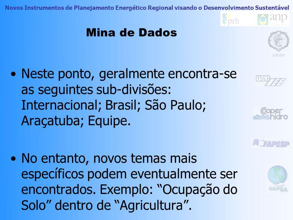 Mina de Dados Neste ponto, geralmente encontra-se as seguintes sub-divisões: Internacional; Brasil; São Paulo; Araçatuba; Equipe.