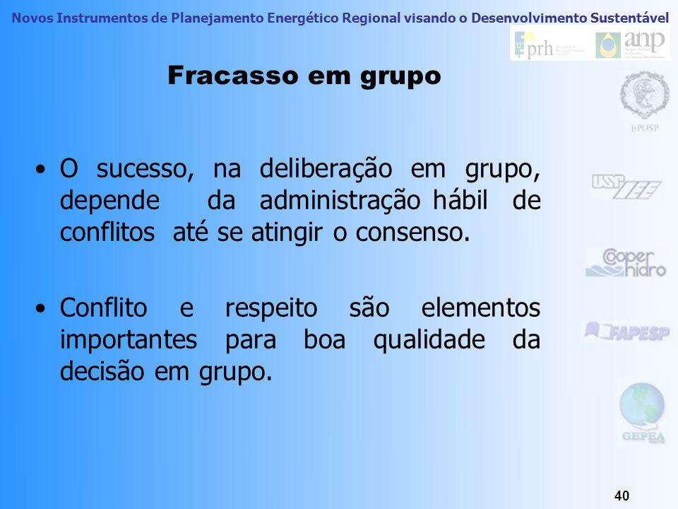 Fracasso em grupo O sucesso, na deliberação em grupo, depende da administração hábil de conflitos até se atingir o consenso.