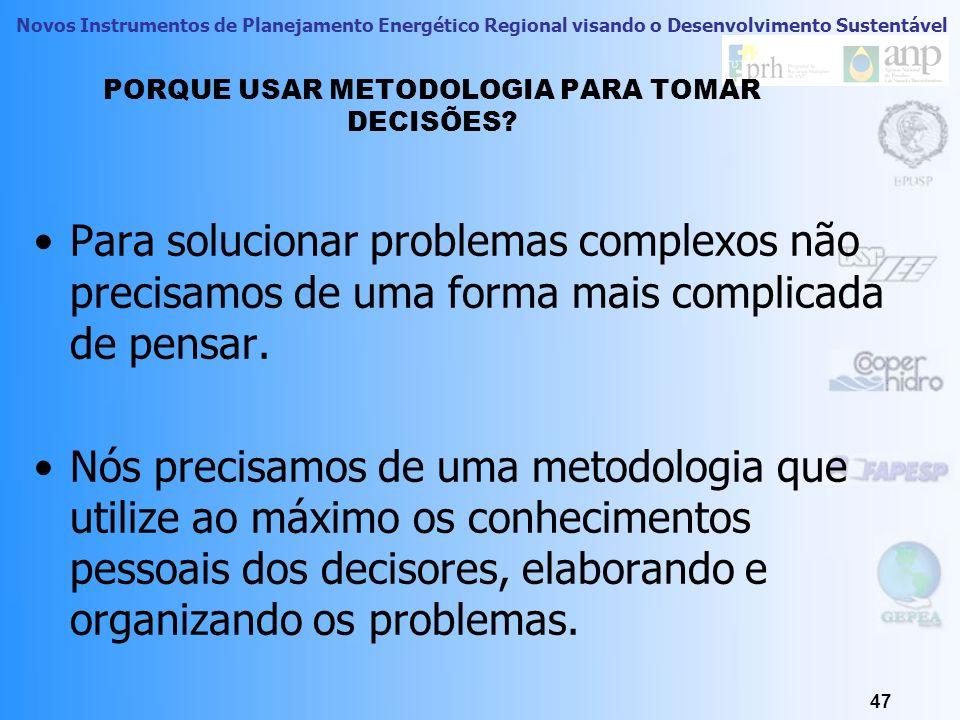 PORQUE USAR METODOLOGIA PARA TOMAR DECISÕES