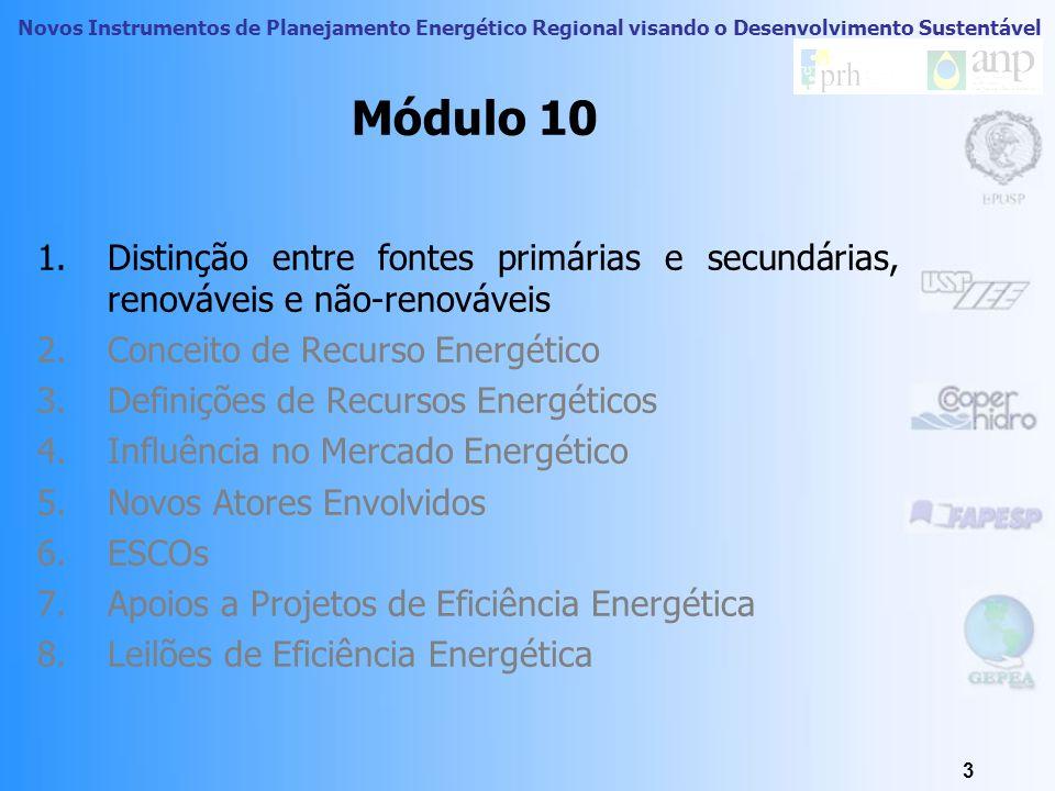 Módulo 10 Distinção entre fontes primárias e secundárias, renováveis e não-renováveis. Conceito de Recurso Energético.