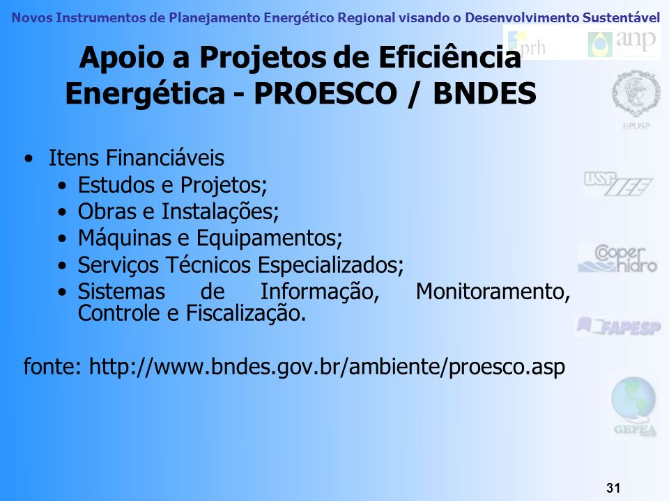 Apoio a Projetos de Eficiência Energética - PROESCO / BNDES