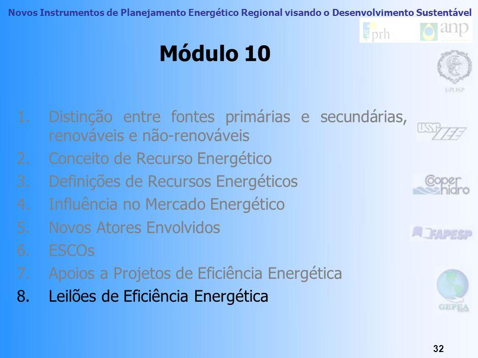 Módulo 10Distinção entre fontes primárias e secundárias, renováveis e não-renováveis. Conceito de Recurso Energético.