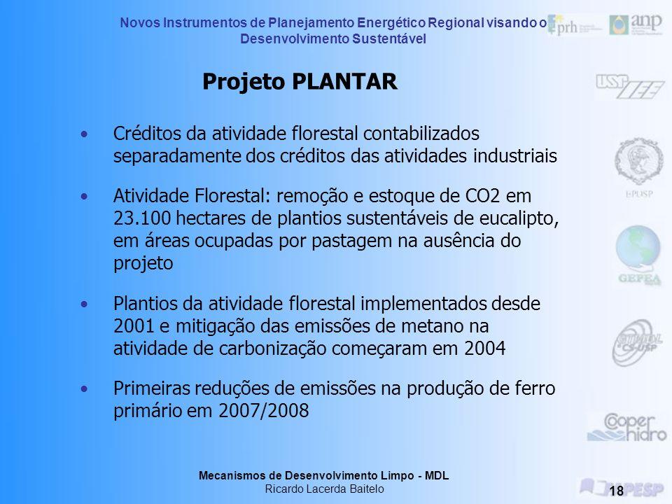 Projeto PLANTAR Créditos da atividade florestal contabilizados separadamente dos créditos das atividades industriais.