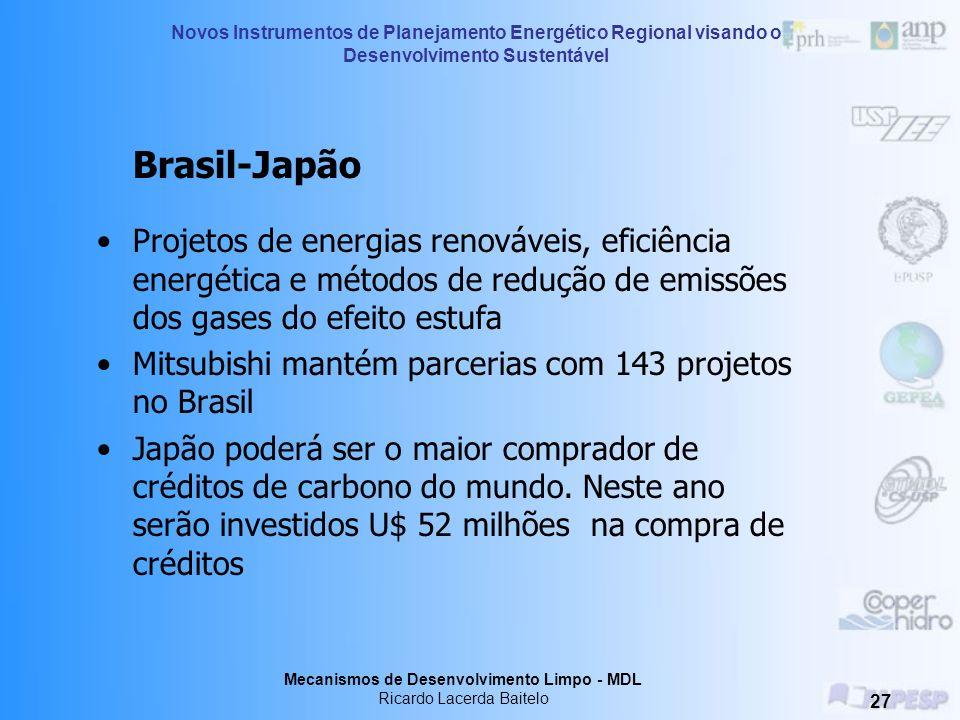 Brasil-Japão Projetos de energias renováveis, eficiência energética e métodos de redução de emissões dos gases do efeito estufa.