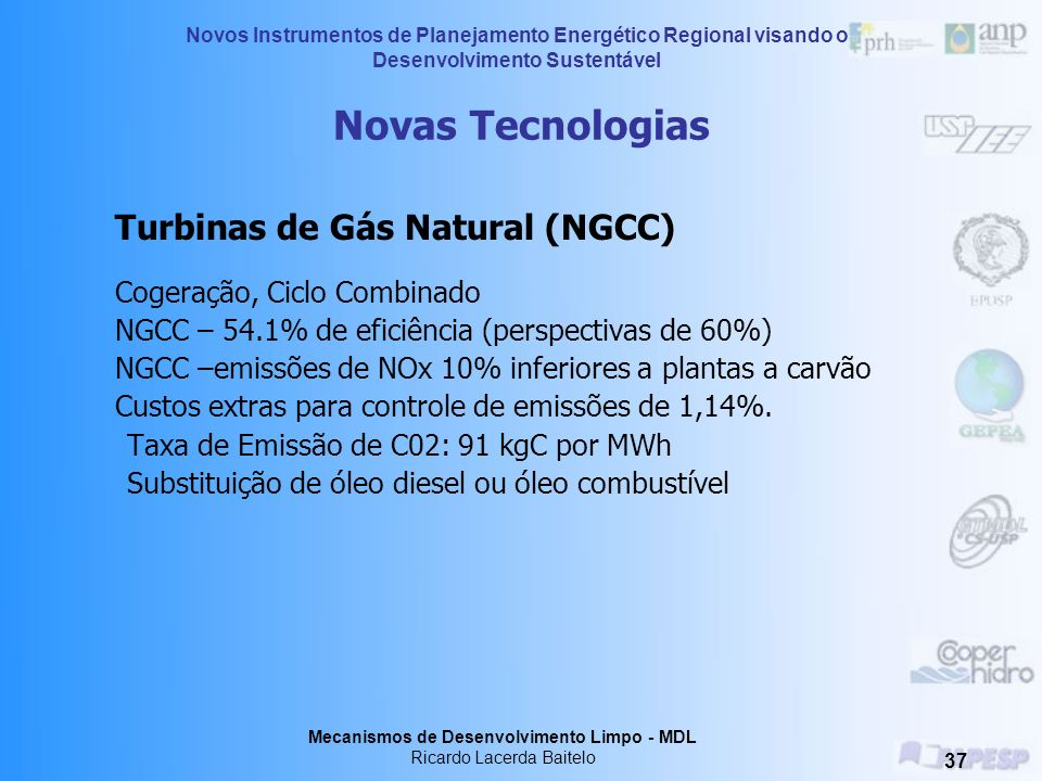 Novas Tecnologias Turbinas de Gás Natural (NGCC)