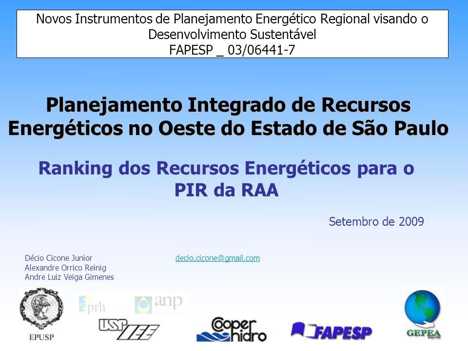 Ranking dos Recursos Energéticos para o PIR da RAA