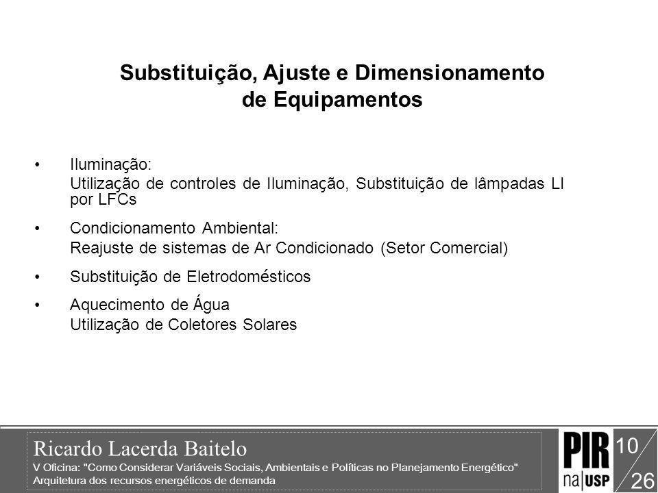 Substituição, Ajuste e Dimensionamento de Equipamentos