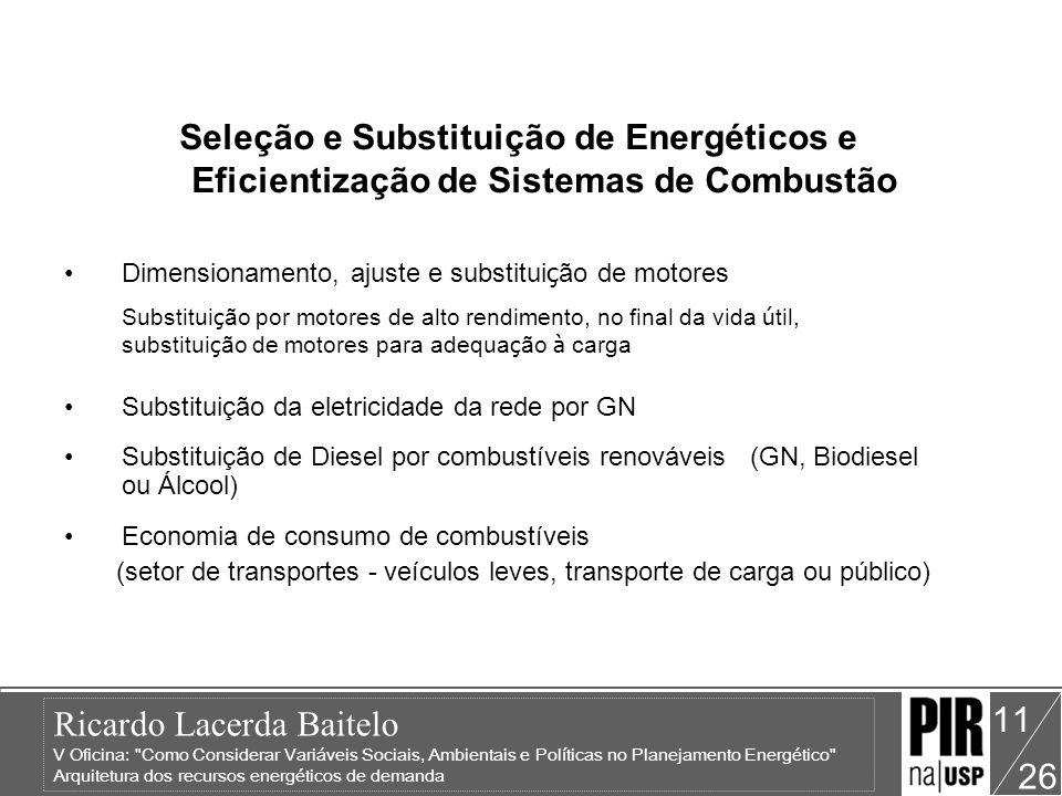 Seleção e Substituição de Energéticos e Eficientização de Sistemas de Combustão
