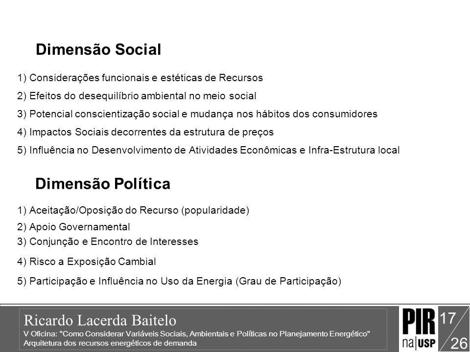 Dimensão Social Dimensão Política