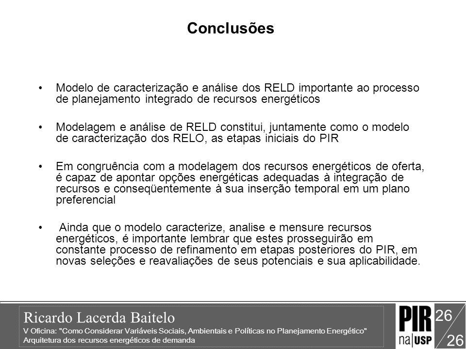 Conclusões Modelo de caracterização e análise dos RELD importante ao processo de planejamento integrado de recursos energéticos.