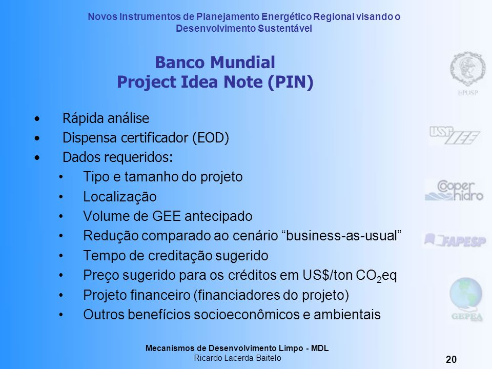 Banco Mundial Project Idea Note (PIN)