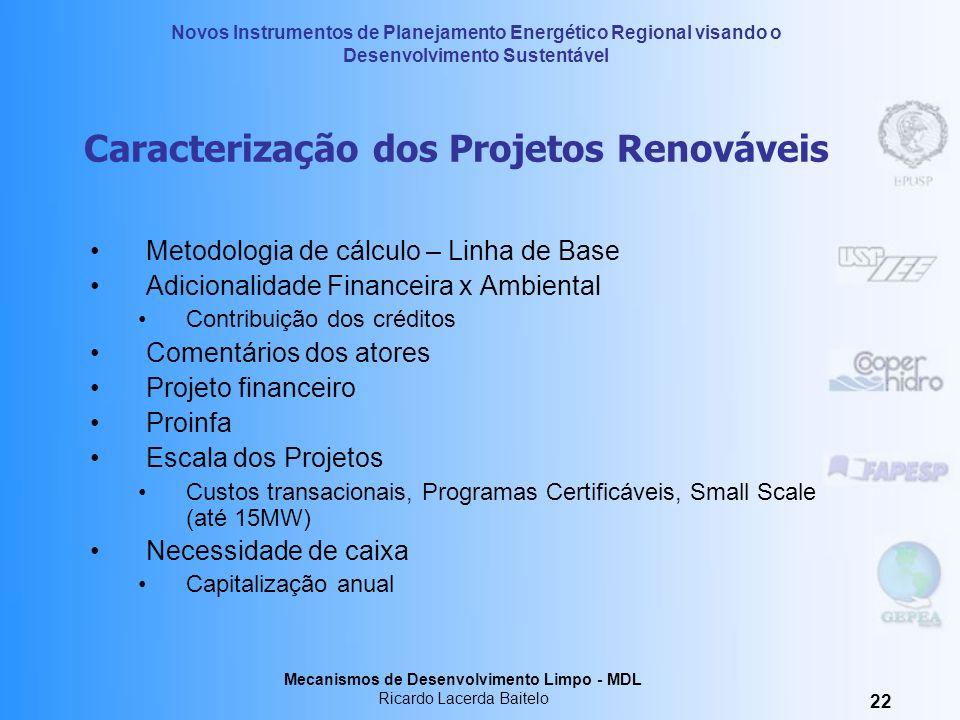 Caracterização dos Projetos Renováveis