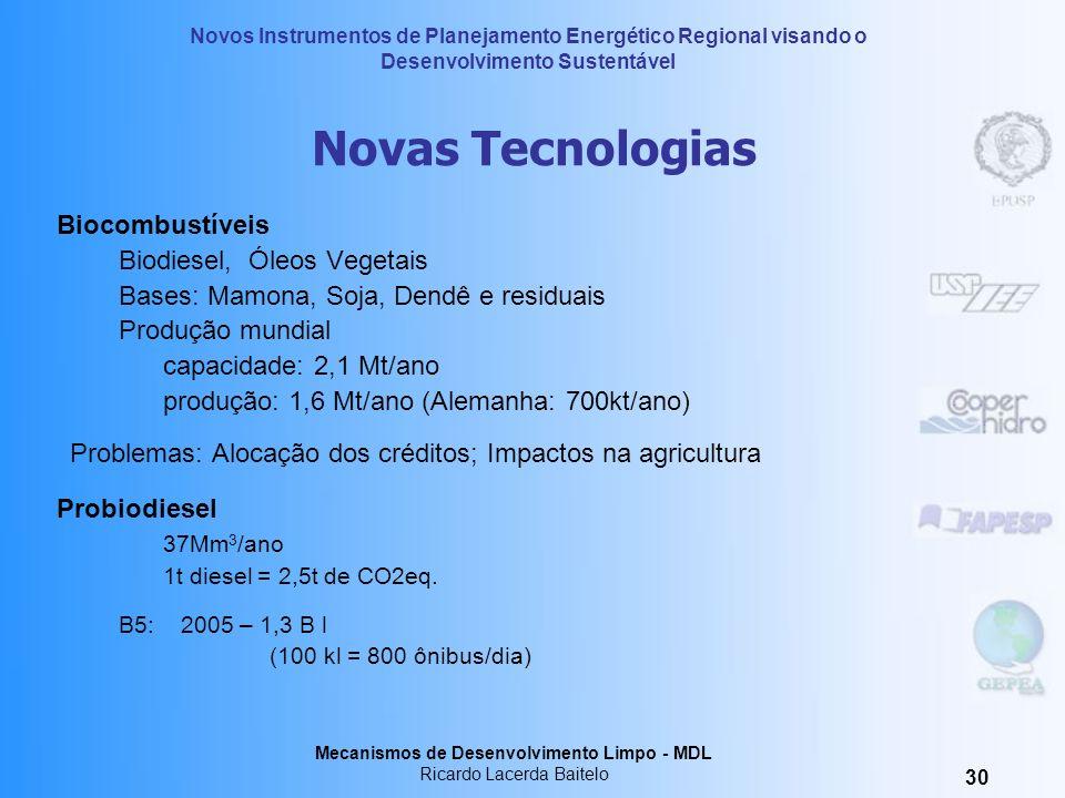 Novas TecnologiasBiocombustíveis. Biodiesel, Óleos Vegetais. Bases: Mamona, Soja, Dendê e residuais.
