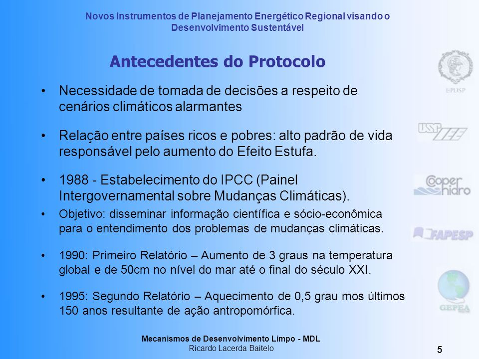 Antecedentes do Protocolo