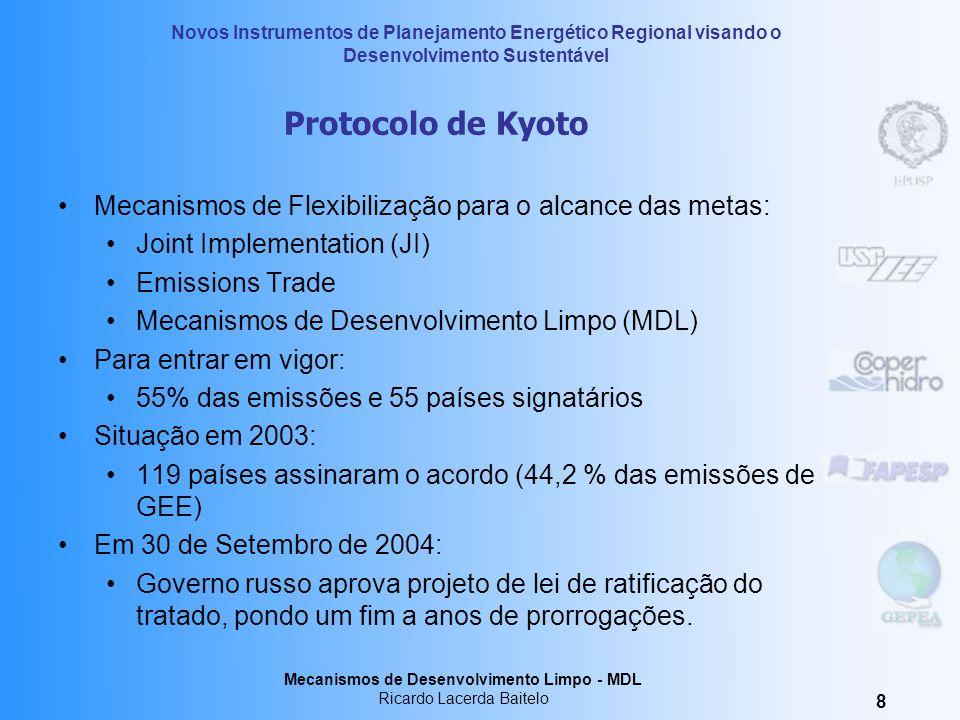 Protocolo de KyotoMecanismos de Flexibilização para o alcance das metas: Joint Implementation (JI) Emissions Trade.