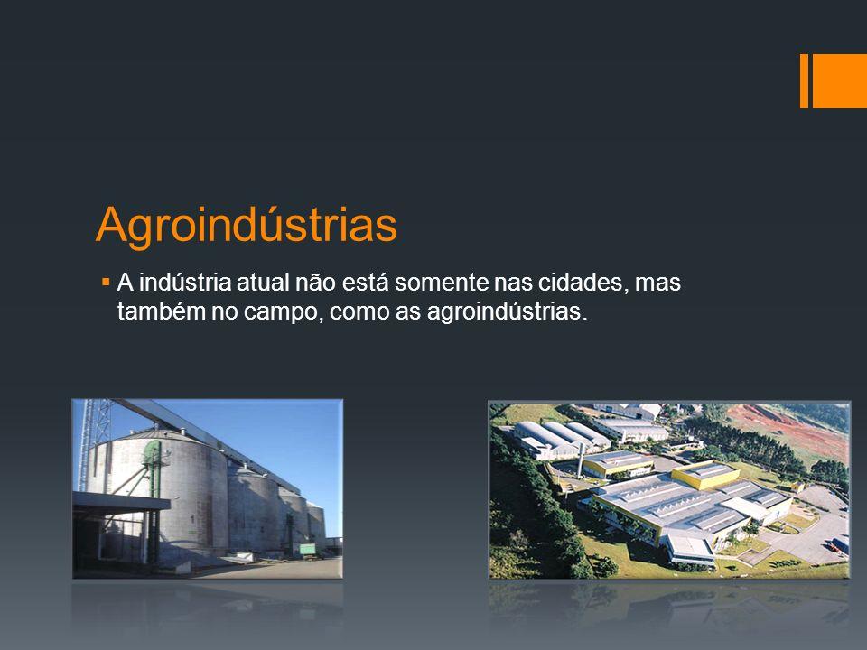 Agroindústrias A indústria atual não está somente nas cidades, mas também no campo, como as agroindústrias.