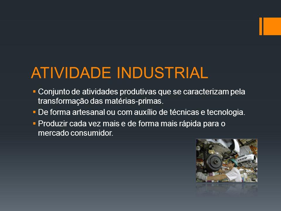 ATIVIDADE INDUSTRIAL Conjunto de atividades produtivas que se caracterizam pela transformação das matérias-primas.