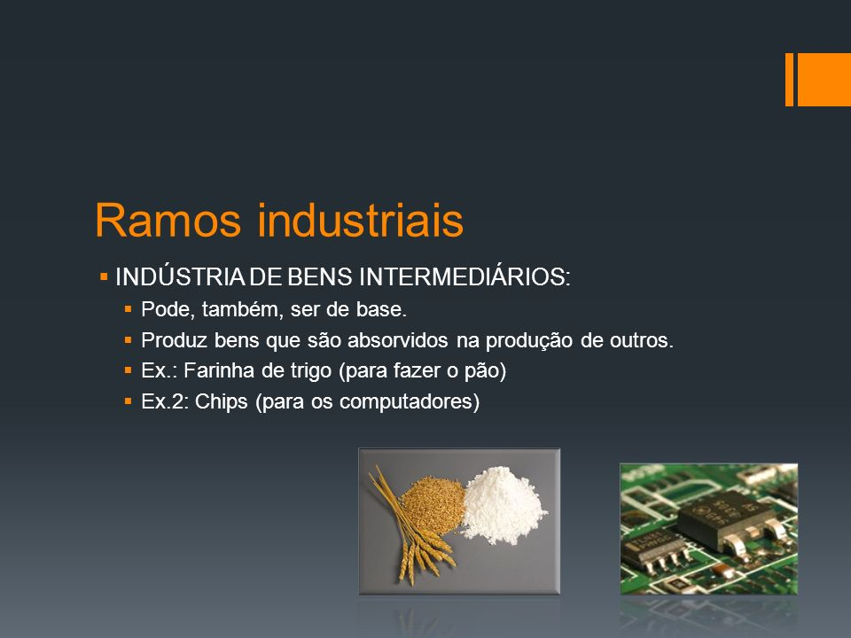 Ramos industriais INDÚSTRIA DE BENS INTERMEDIÁRIOS: