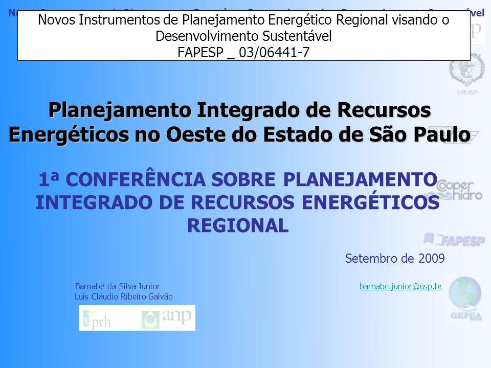 Novos Instrumentos de Planejamento Energético Regional visando o Desenvolvimento Sustentável FAPESP _ 03/06441-7