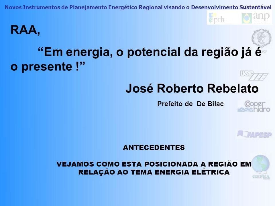 Em energia, o potencial da região já é o presente !