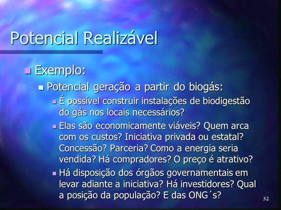 Potencial Realizável Exemplo: Potencial geração a partir do biogás: