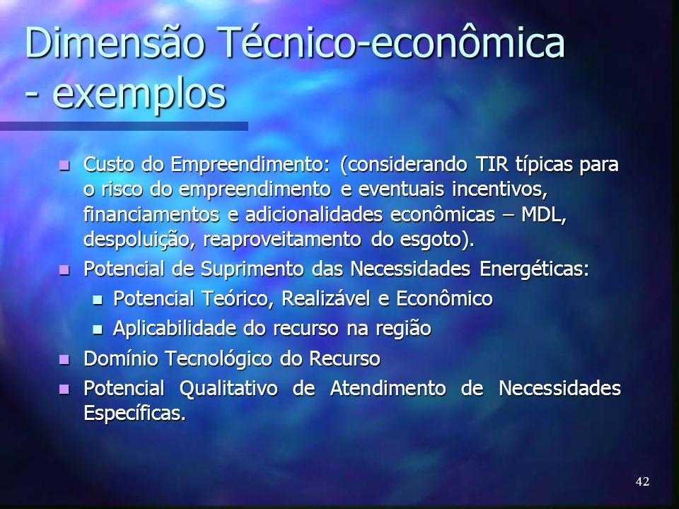Dimensão Técnico-econômica - exemplos