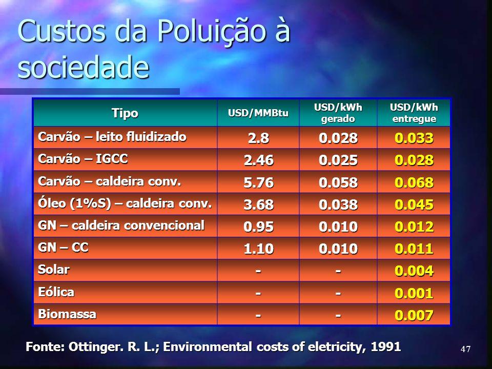 Custos da Poluição à sociedade