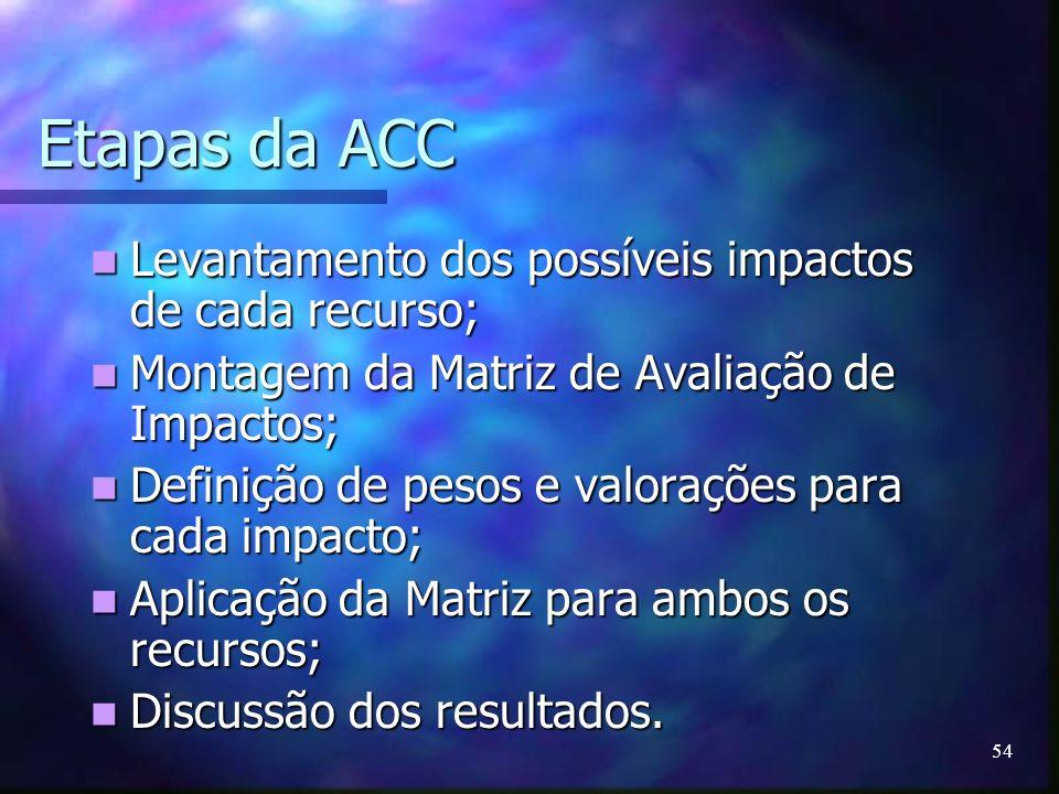 Etapas da ACC Levantamento dos possíveis impactos de cada recurso;