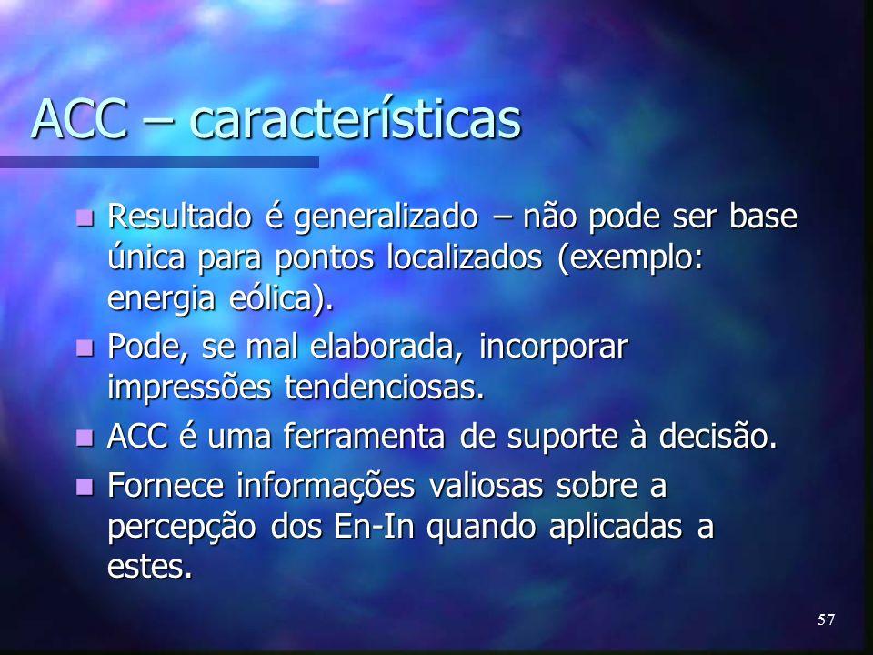 ACC – características Resultado é generalizado – não pode ser base única para pontos localizados (exemplo: energia eólica).