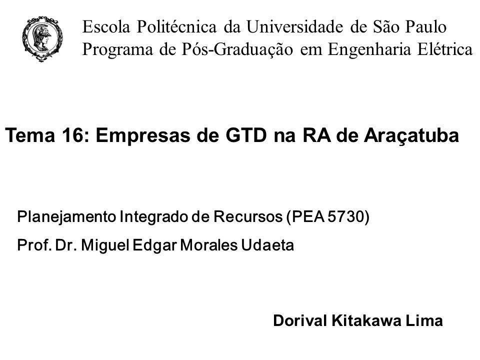 Tema 16: Empresas de GTD na RA de Araçatuba