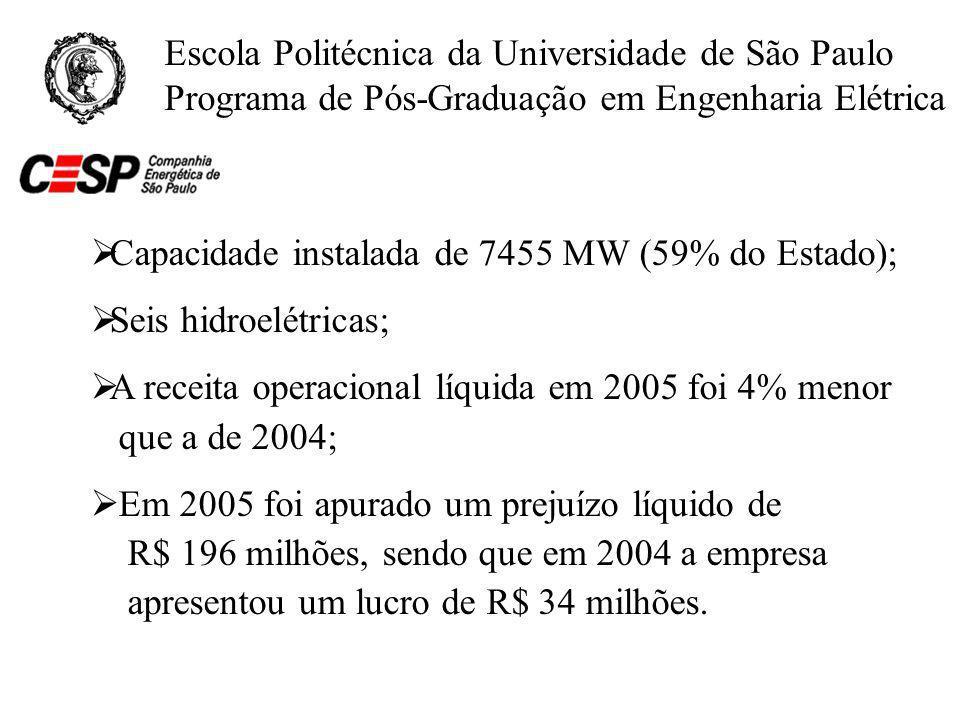 Capacidade instalada de 7455 MW (59% do Estado);