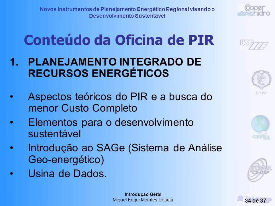 Conteúdo da Oficina de PIR