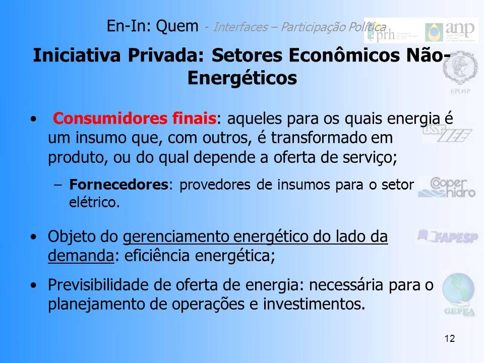 Iniciativa Privada: Setores Econômicos Não-Energéticos