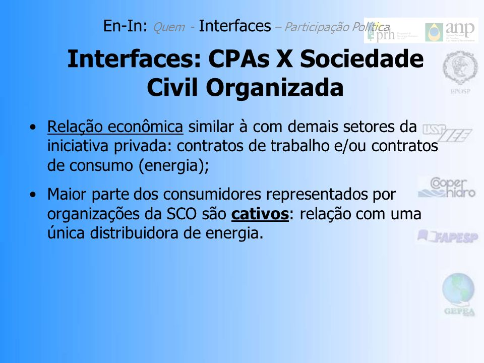 Interfaces: CPAs X Sociedade Civil Organizada