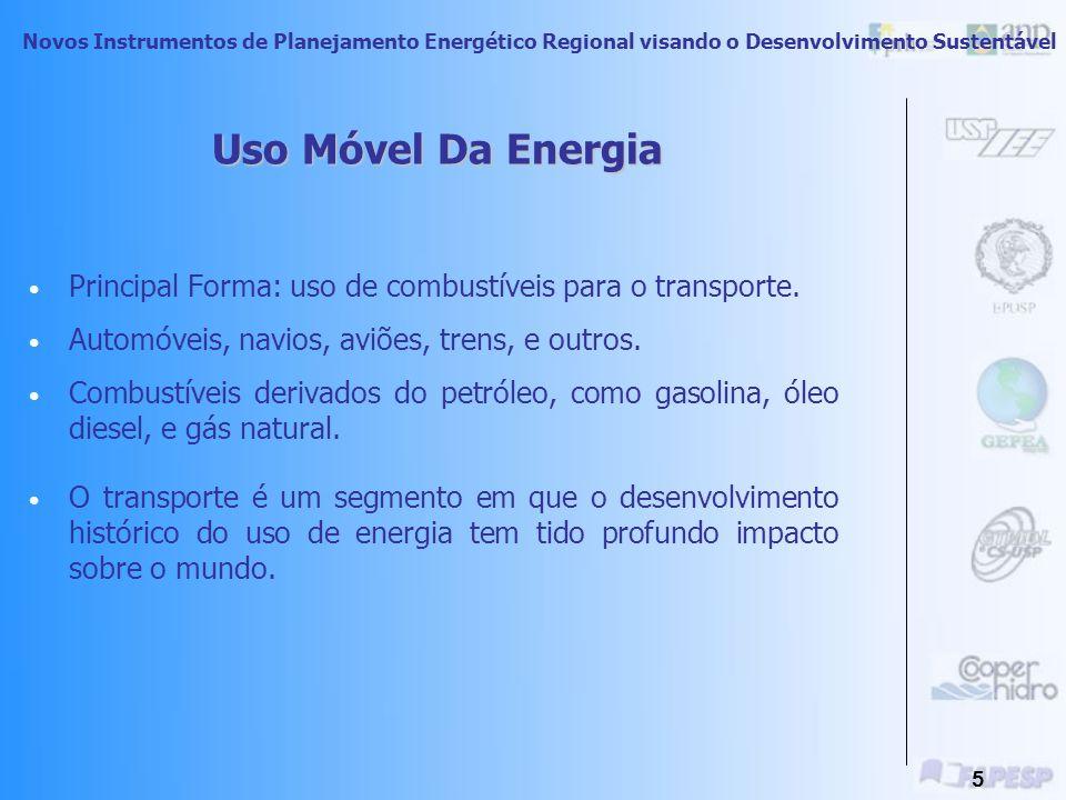 Uso Móvel Da Energia Principal Forma: uso de combustíveis para o transporte. Automóveis, navios, aviões, trens, e outros.