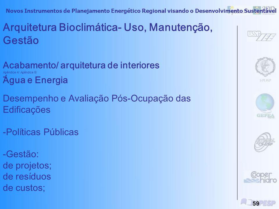 Arquitetura Bioclimática- Uso, Manutenção, Gestão Acabamento/ arquitetura de interiores Apêndice 4/ Apêndice 5/ Água e Energia