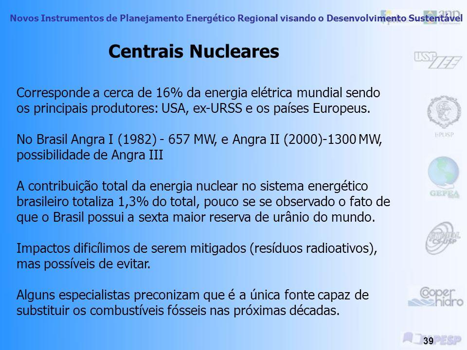 Centrais Nucleares Corresponde a cerca de 16% da energia elétrica mundial sendo os principais produtores: USA, ex-URSS e os países Europeus.