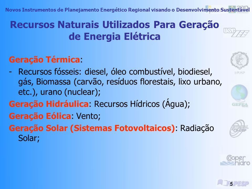 Recursos Naturais Utilizados Para Geração de Energia Elétrica