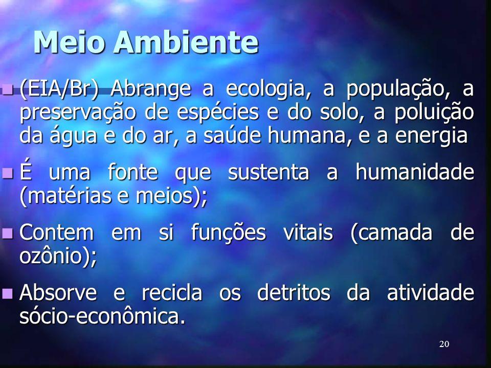 Meio Ambiente(EIA/Br) Abrange a ecologia, a população, a preservação de espécies e do solo, a poluição da água e do ar, a saúde humana, e a energia.