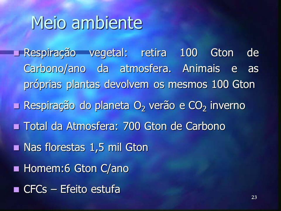 Meio ambiente Respiração vegetal: retira 100 Gton de Carbono/ano da atmosfera. Animais e as próprias plantas devolvem os mesmos 100 Gton.