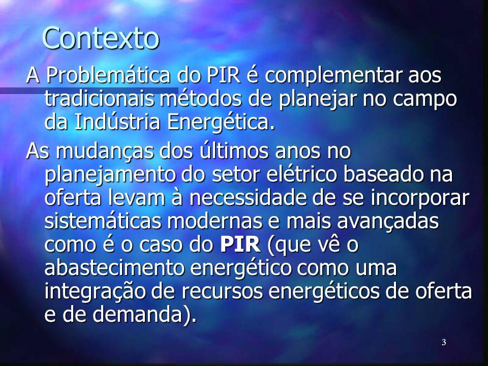 Contexto A Problemática do PIR é complementar aos tradicionais métodos de planejar no campo da Indústria Energética.