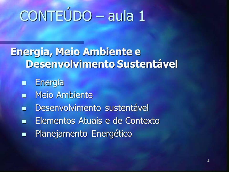 CONTEÚDO – aula 1 Energia, Meio Ambiente e Desenvolvimento Sustentável