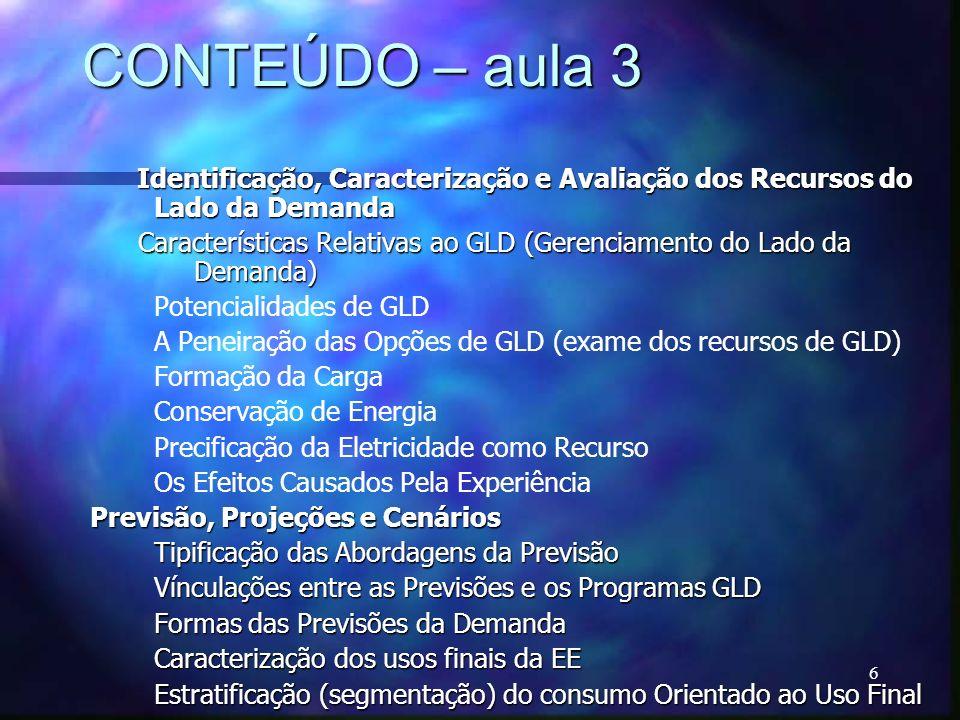 CONTEÚDO – aula 3Identificação, Caracterização e Avaliação dos Recursos do Lado da Demanda.
