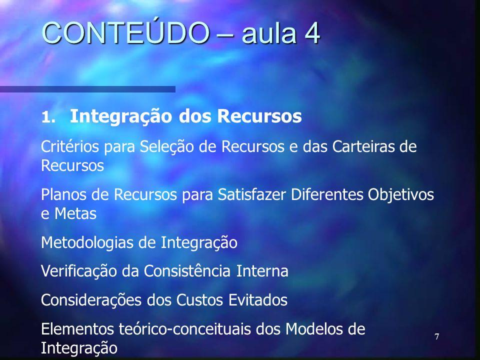 CONTEÚDO – aula 4 1. Integração dos Recursos