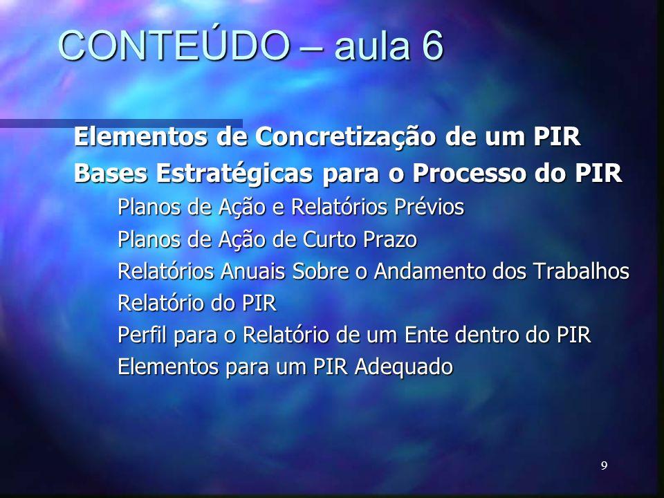 CONTEÚDO – aula 6 Elementos de Concretização de um PIR
