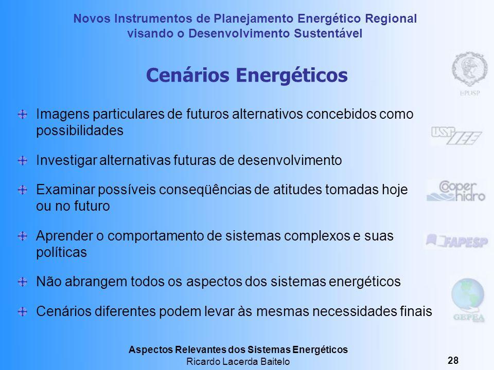 Cenários Energéticos Imagens particulares de futuros alternativos concebidos como possibilidades. Investigar alternativas futuras de desenvolvimento.