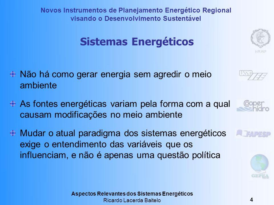 Sistemas Energéticos Não há como gerar energia sem agredir o meio ambiente.