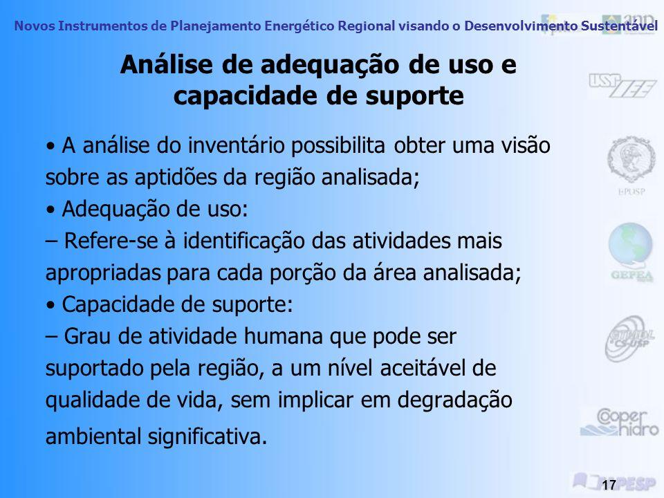 Análise de adequação de uso e capacidade de suporte