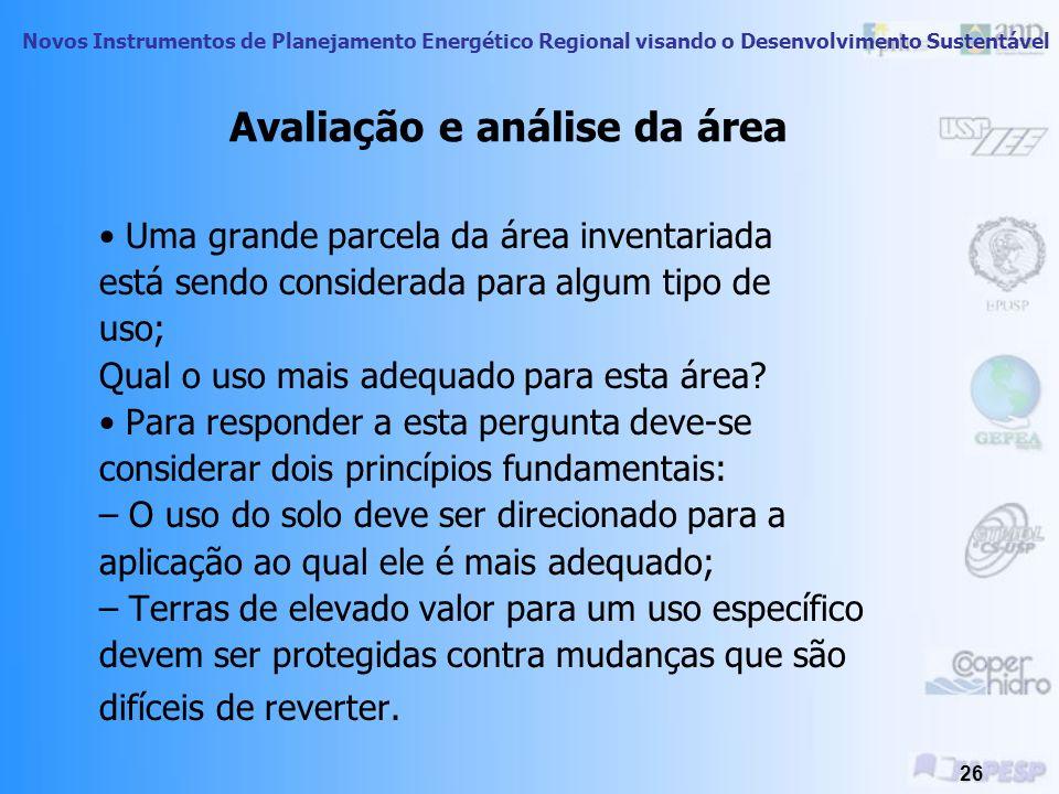 Avaliação e análise da área